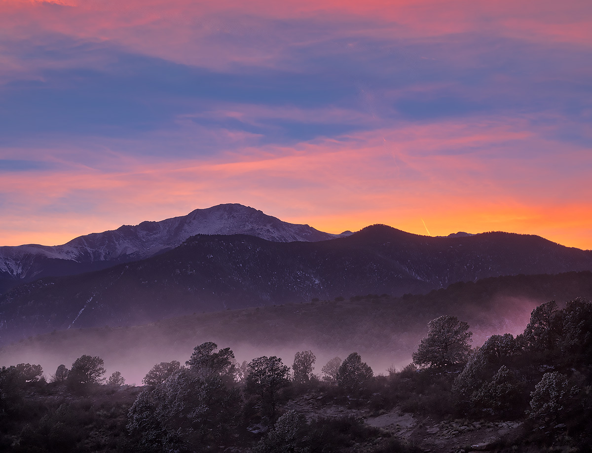 sunset,Pikes Peak,Rampart Range, photo