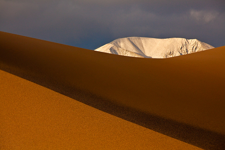 Snow-capped Sangres appear behind a dune crest.