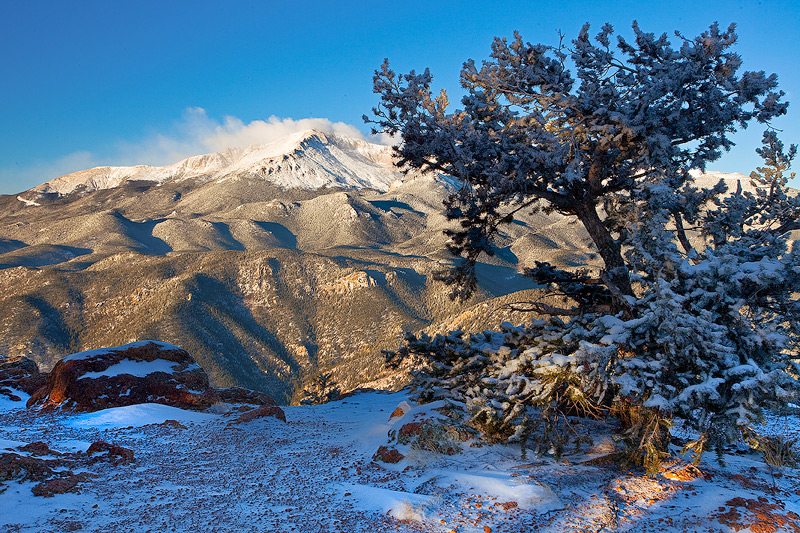Pikes Peak,snowfall,Rampart Range Road, photo