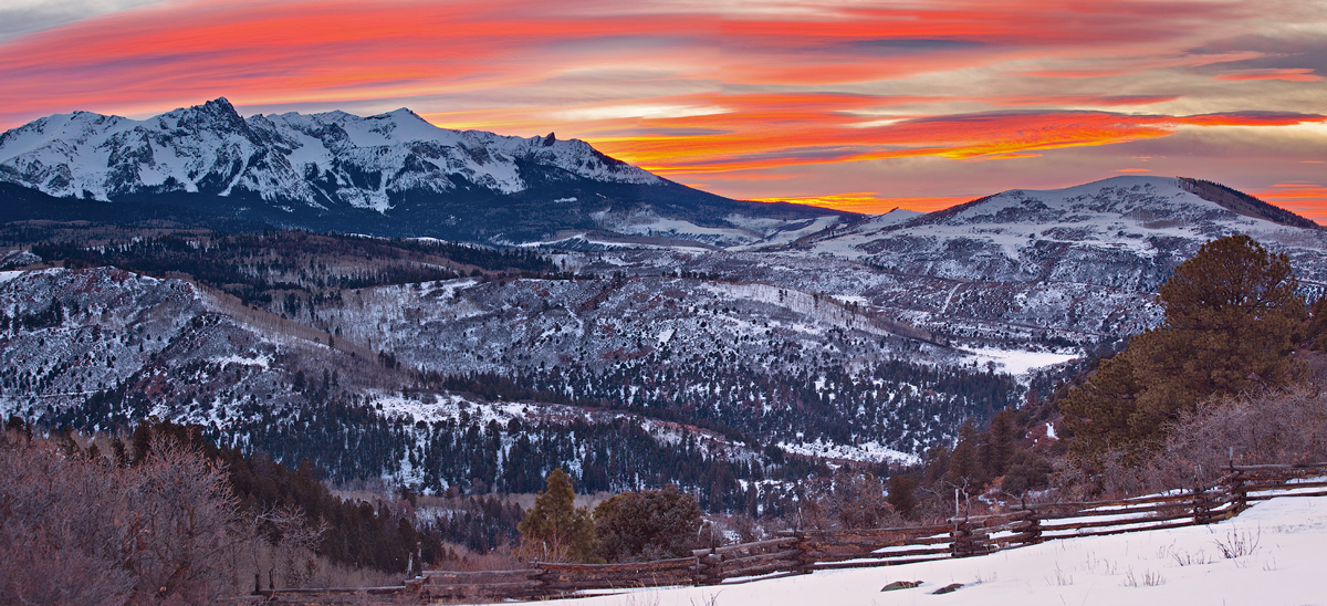 Interesting sunset from Road 5 overlooking the Sneffels Range in the San Juan Mountains.
