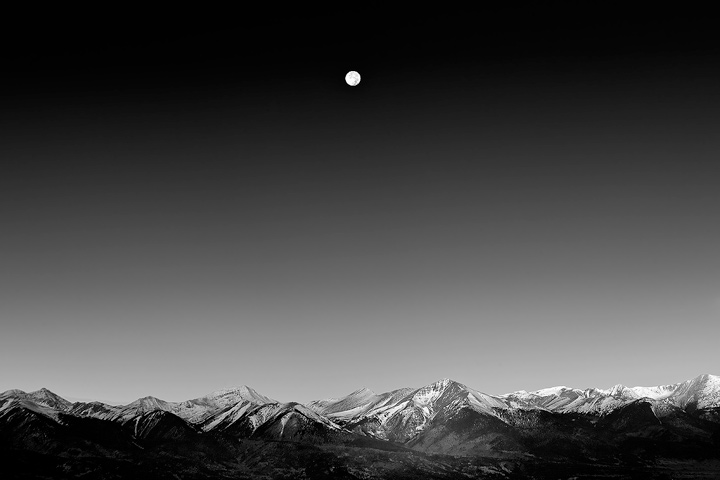 Moonset over the Sangre De Cristo Range, from the Wet Mountains.