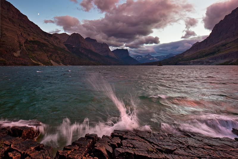 Glacier National Park, Montana,St Mary Lake,waves,moon, photo
