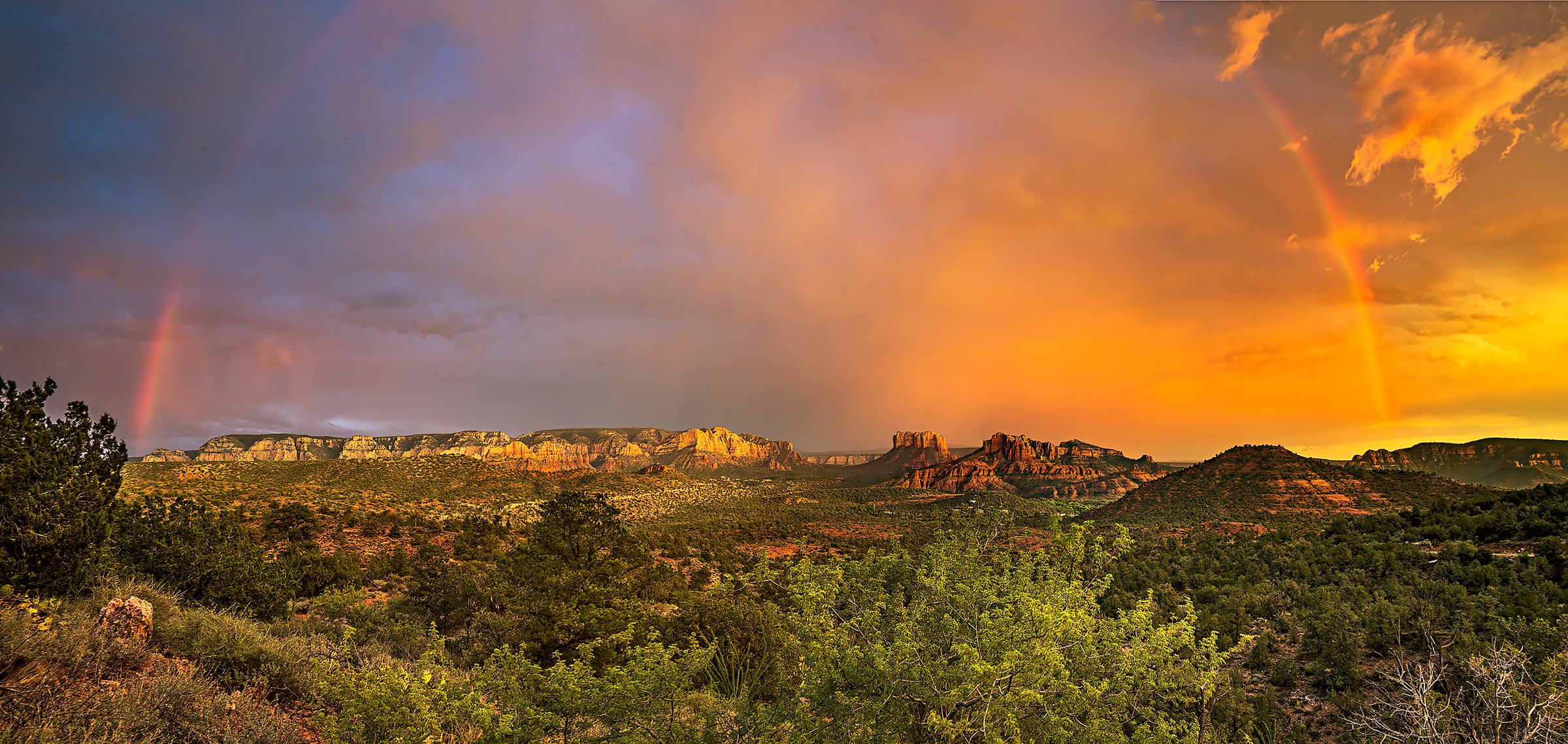 rainbow, Sedona, Cathedral Rock, monsoon, Arizona, photo
