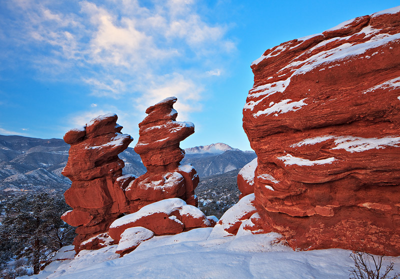 Siamese Twins,Garden of the Gods,Colorado,sunrise,Pikes Peak, photo
