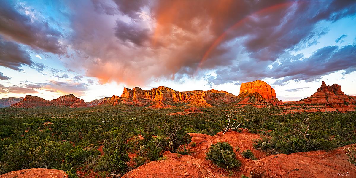 sunset, rainbow,sedona, photo