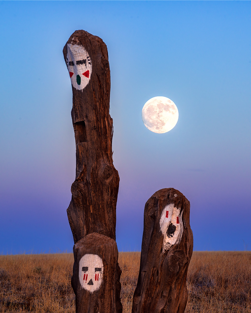 Hopi Spirit totems,Wupatki,moon, photo