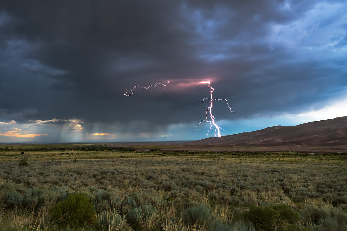 The monsoon brings afternoon storms to the Great Sand Dunes.