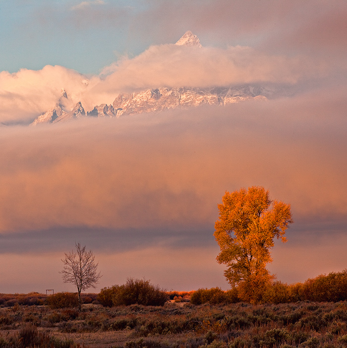 Fog clears from Grand Teton, October in Grand Teton NP.