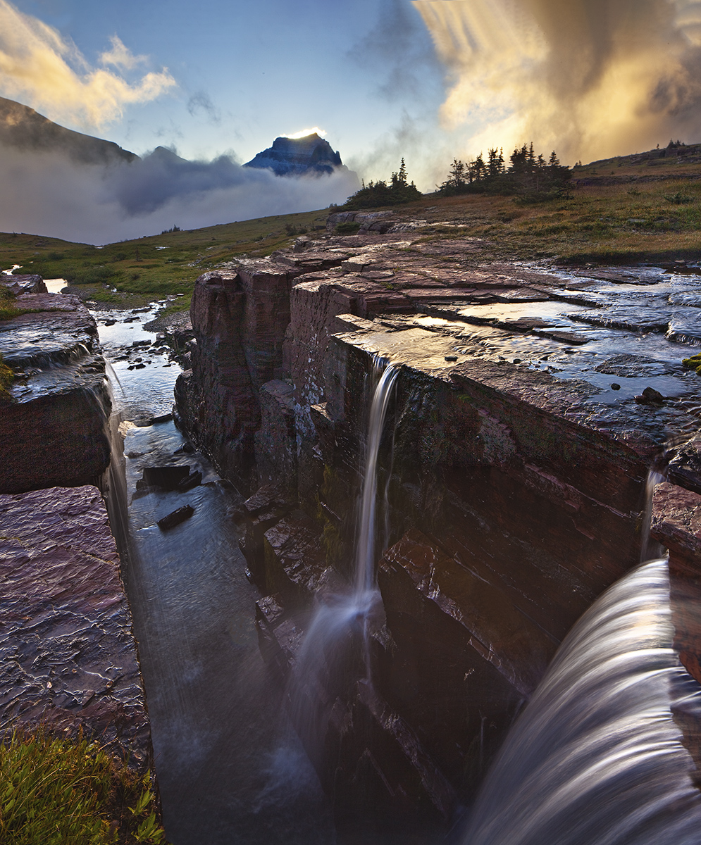 Glacier National Park, Montana,triple falls,fog,sunrise, photo