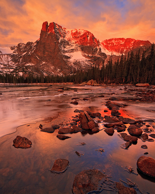 Two Rivers Lake,sunrise,Rocky Mountain National Park,Colorado,vertical,alpenglow, photo