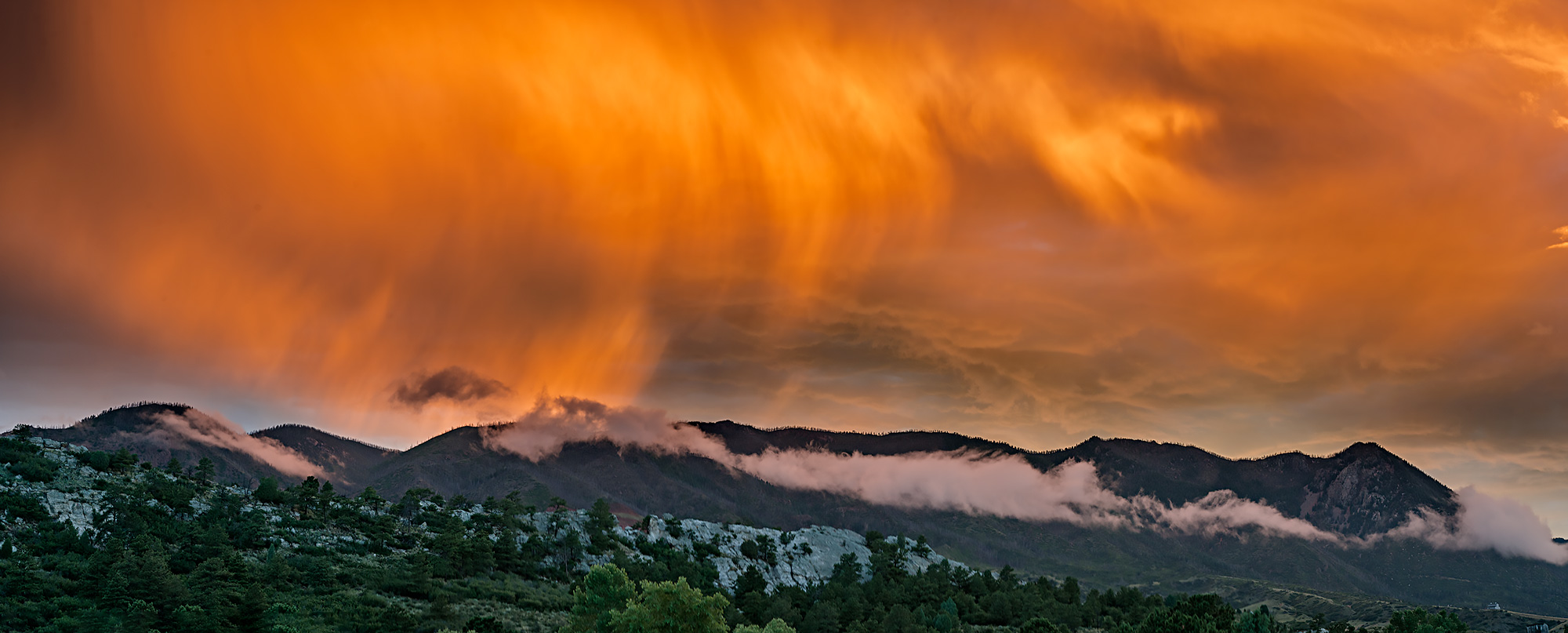 rampart range, storm, sunset, photo