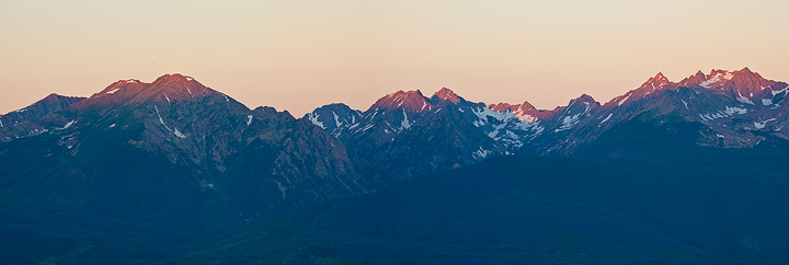 Alpenglow hits the Gore range as seen from Ute Pass.