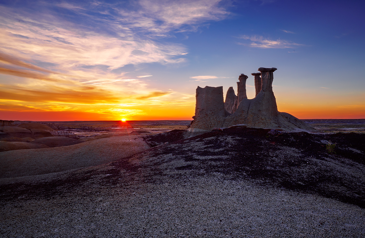 Ah Shi Sle Pah, New Mexico, badlands, sunset, photo