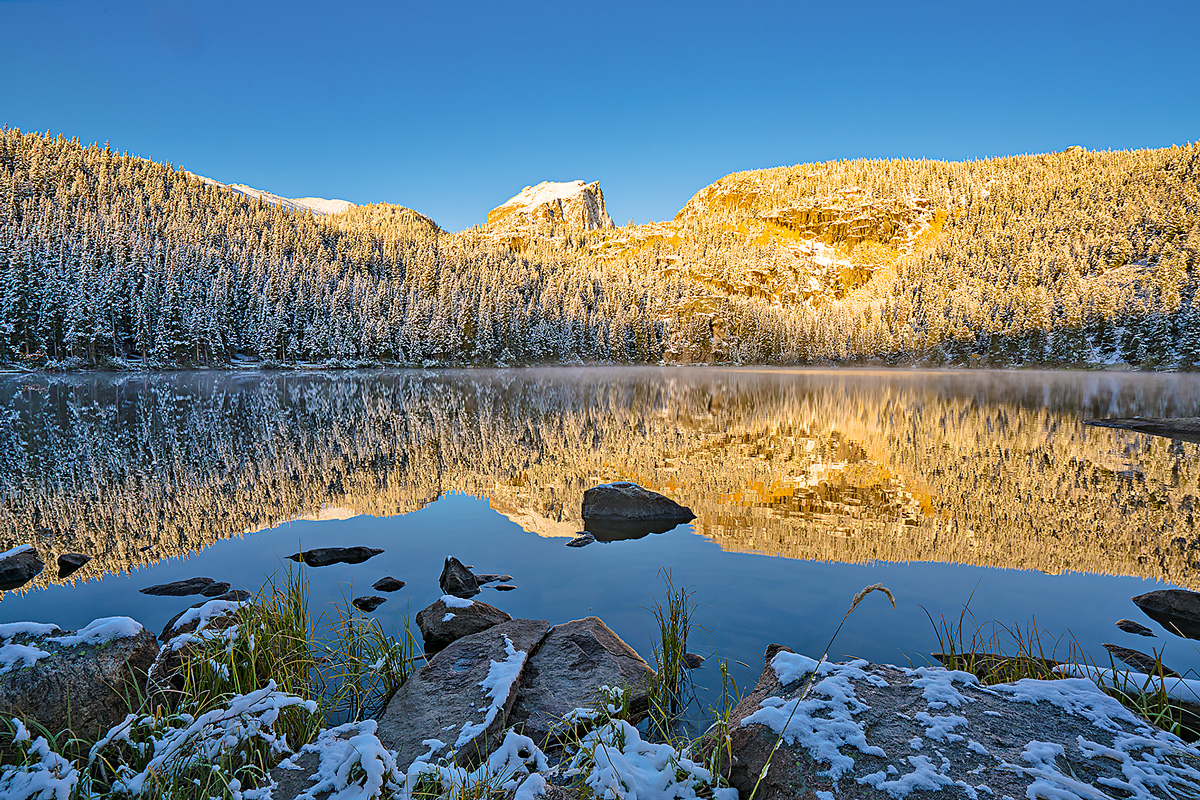 Bear Lake,Rocky Mountain National Park,Colorado,snow,sunrise, photo