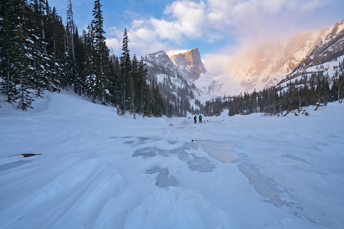 60 mph winds at Dream Lake in January knocked over my tripod and did extensive damageto my camera and lens; this was the scene...