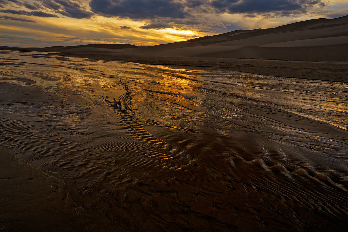 Medano Creek,Great Sand Dunes,Colorado,sunset, photo