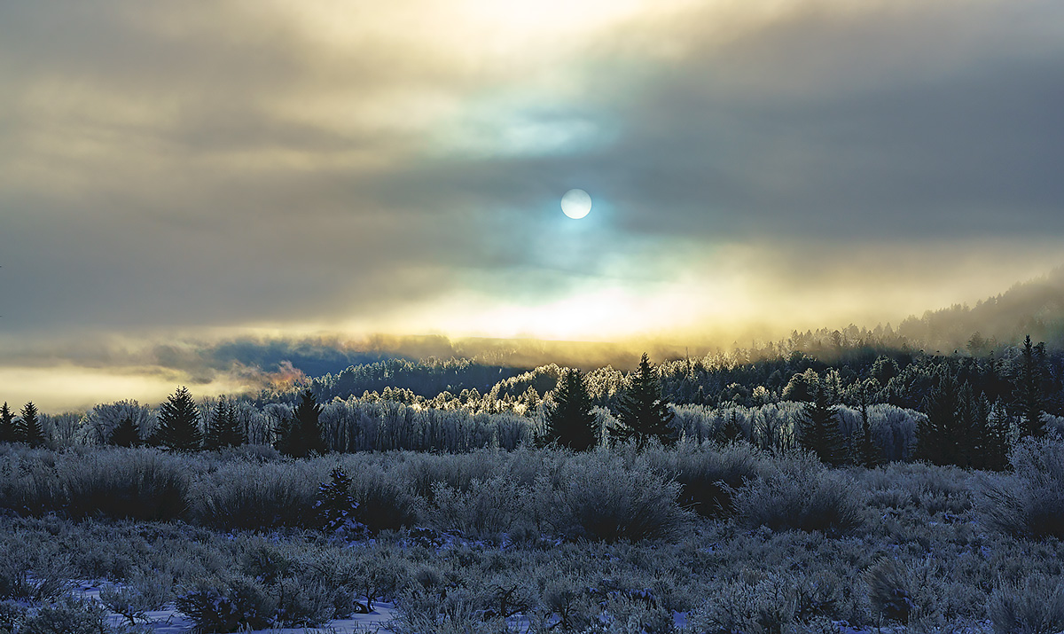 Sunrise on a sub-zero winter morning with fog in the Grand Tetons
