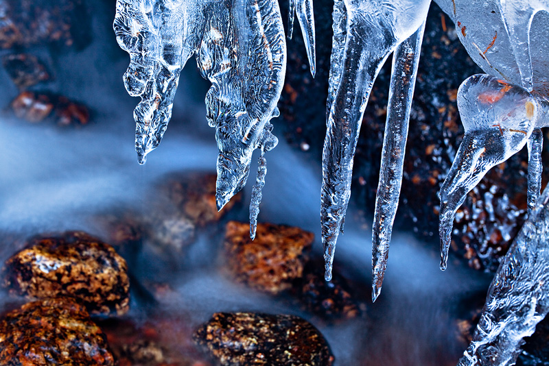 Icicles hang from a frozen cascade on the east side of Pikes Peak.