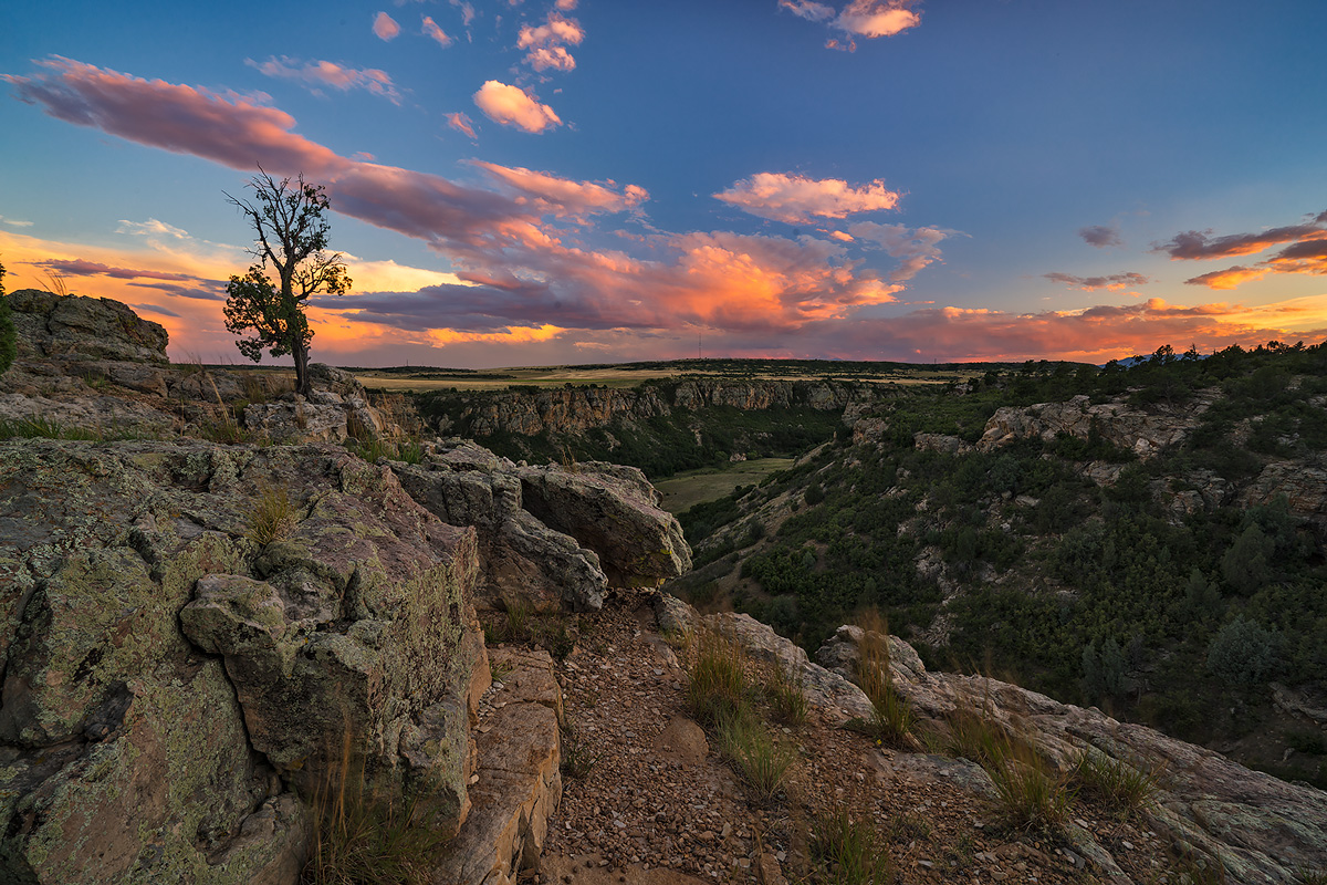 sunset from Graneros Gorge overlook.