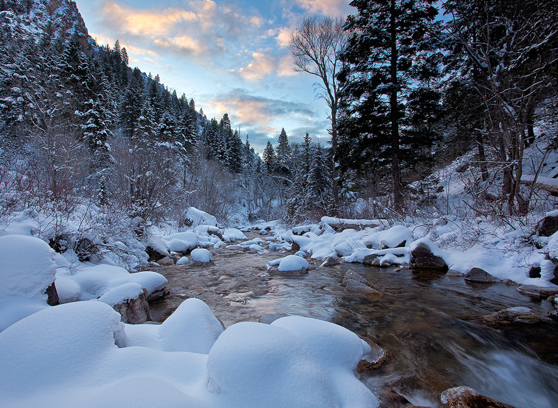 Sunrise, Grizzly Creek, in Winter