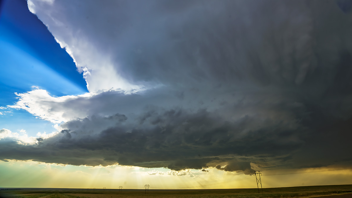 supercell, thunderstorm, Lamar, Colorado, sunset, plains, photo