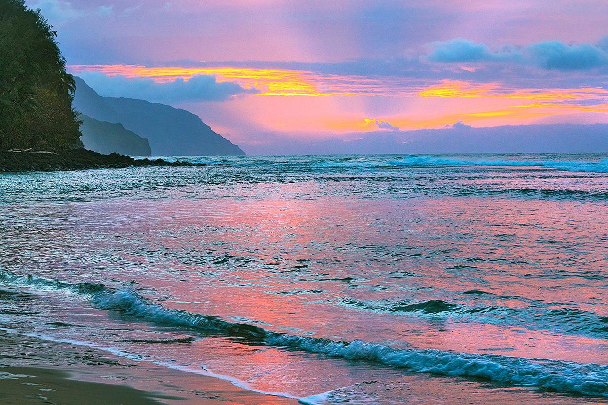 Ke'e Beach,Kauai,Hawaii,sunset, photo