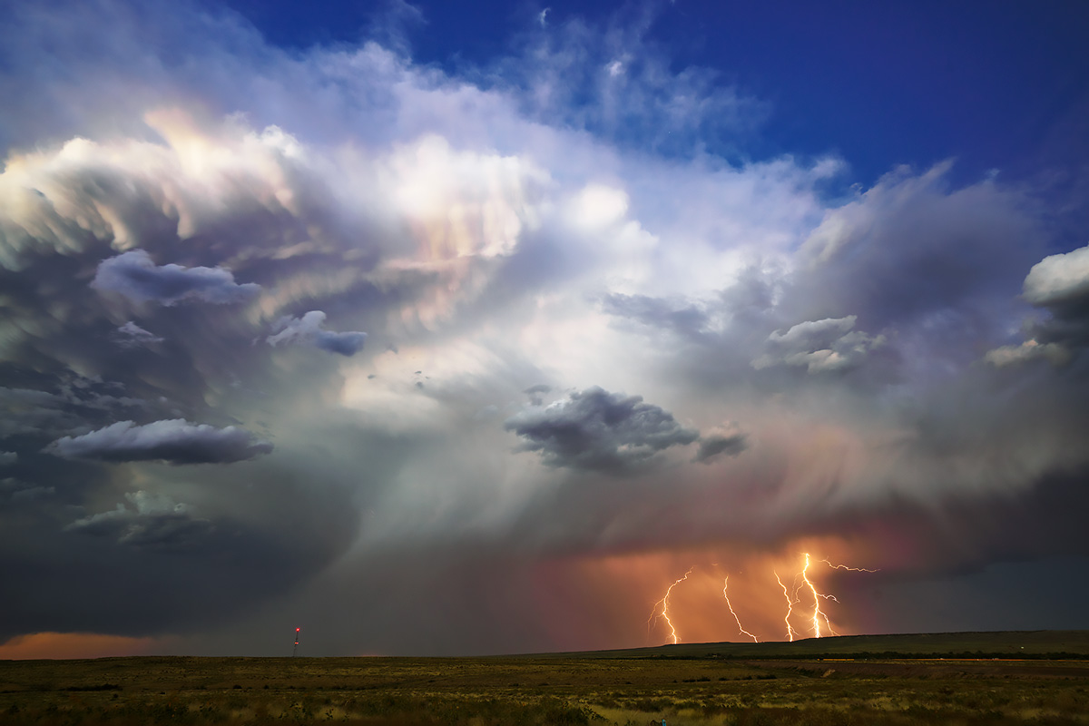 Highly electric storm moves over the Colorado Plains.