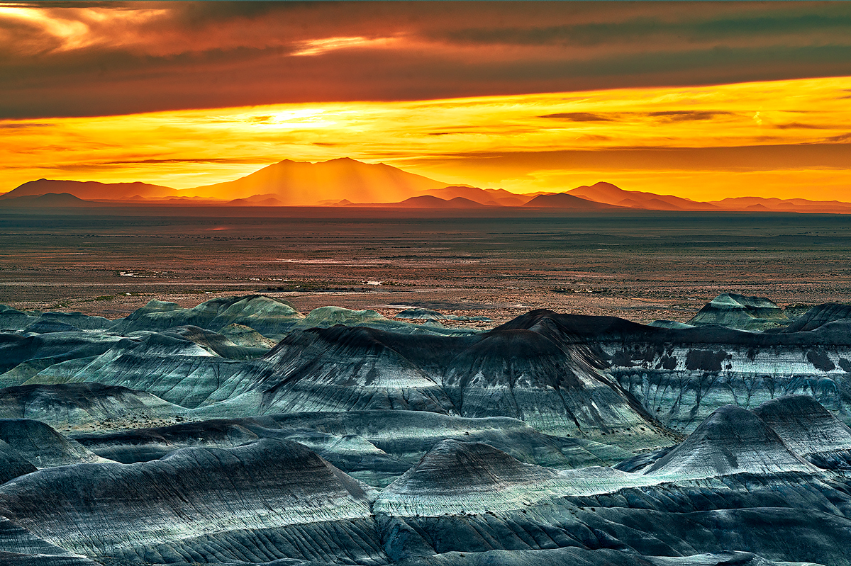Little Painted Desert, Winslow, San Francisco Peaks, Arizona, sunset, photo