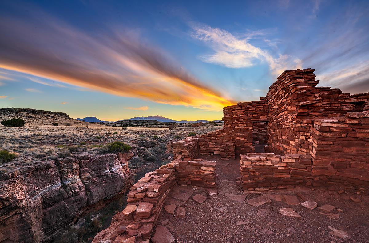 Lumoki Pueblo,Wupatki National Monument, Arizona,sunset, photo
