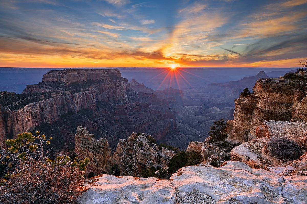Wooten's Throne at the north rim of the Grand Canyon at Cape Royal, at sunset