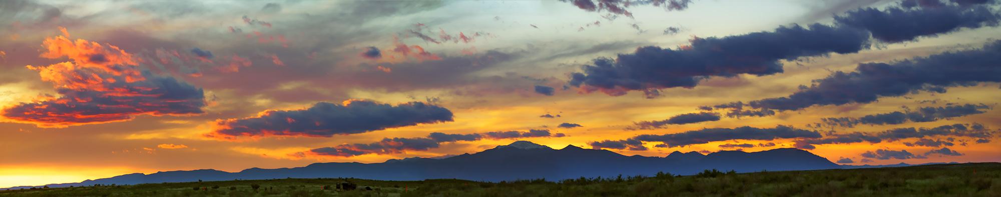 Pikes Peak, sunset, rampart range, Colorado, Pueblo, photo