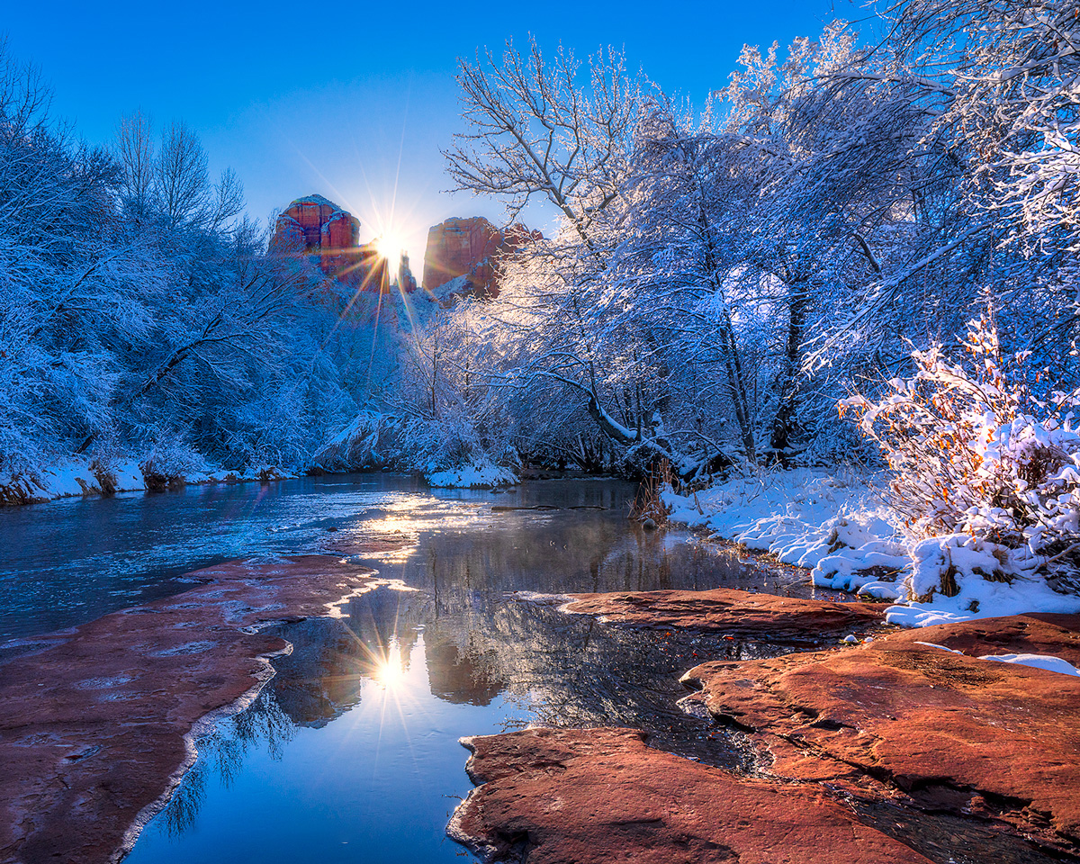 A calm winter morning at Red Rock Crossing, Oak Creek, following a low elevation snowstorm.