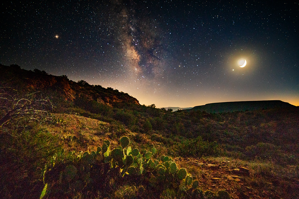 Milky Way and Moon near Robber's Roost in Sedona.