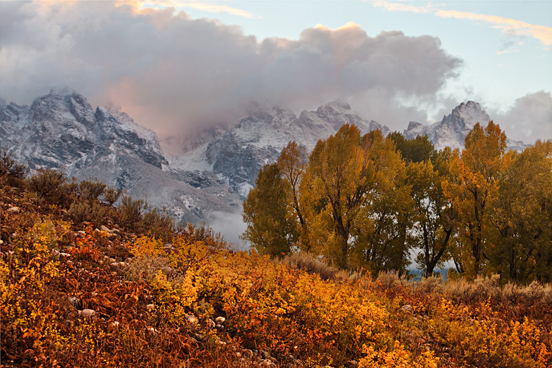 A September storm clears at sunset over the Tetons.