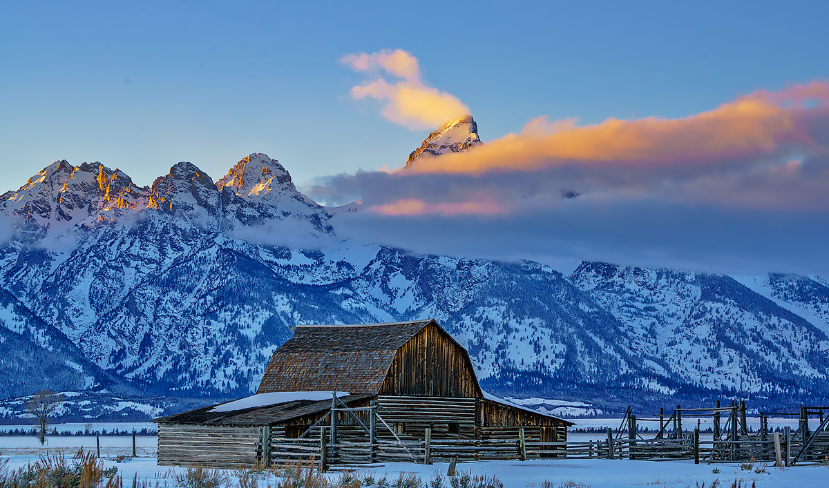 Mormon Row,Grand teton,barn,fog,sunset, photo